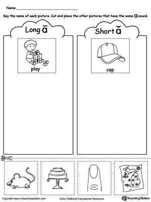 Short and Long Vowels Worksheet Short and Long Vowel A Picture sorting