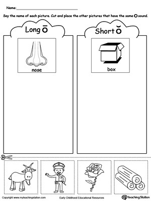 Short and Long Vowels Worksheet Short and Long Vowel O Picture sorting