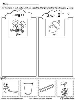 Short and Long Vowels Worksheet Short and Long Vowel U Picture sorting
