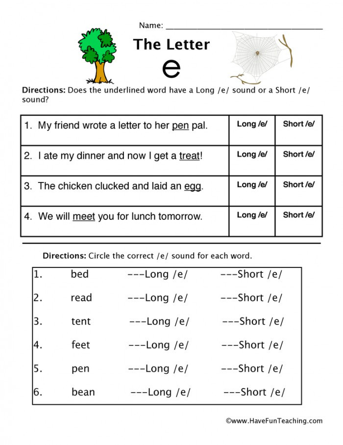 "Short and Long Vowels Worksheet Short Vowel sounds ""e"" Worksheets"