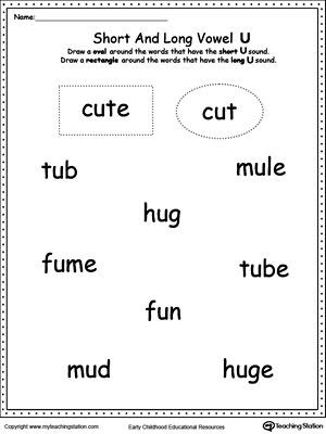 Short and Long Vowels Worksheet Vowels Short or Long U sound Words