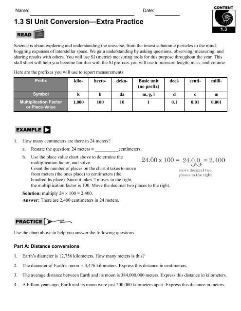 Si Unit Conversion Worksheet 1 3 Si Unit Conversion—extra Practice Cpo Science