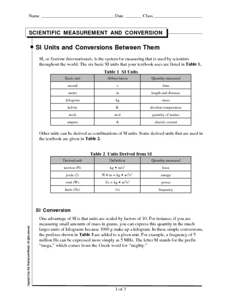 Si Unit Conversion Worksheet Si Units and Conversions Between them Worksheet for 9th