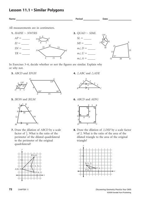 Similar Polygons Worksheet Answers Lesson 11 1 • Similar Polygons