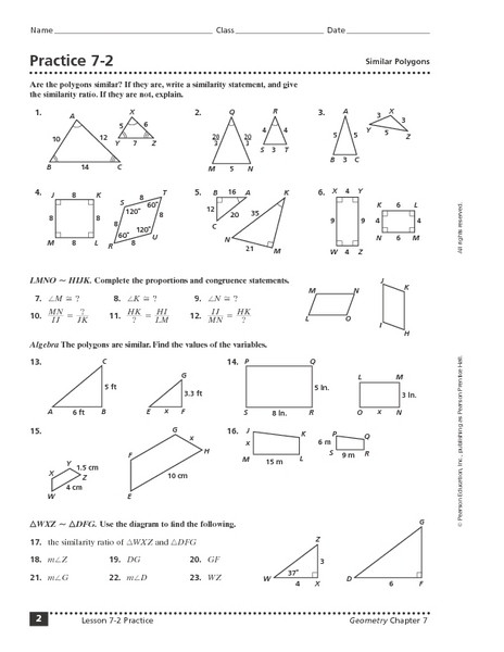 Similar Polygons Worksheet Answers Lesson 9 Homework Practice Similar Figures Answers