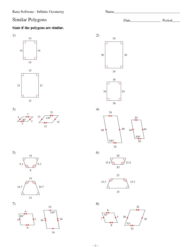 Similar Polygons Worksheet Answers Similar Polygons Worksheet for 10th Grade