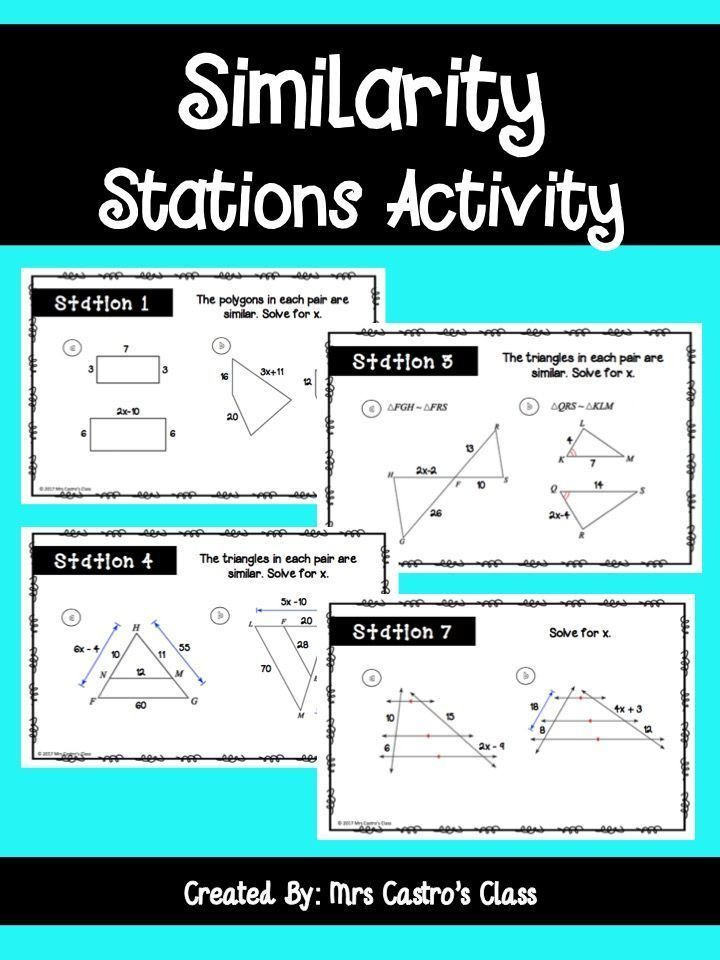 Similar Polygons Worksheet Answers Similarity and Similar Triangles Stations Activity