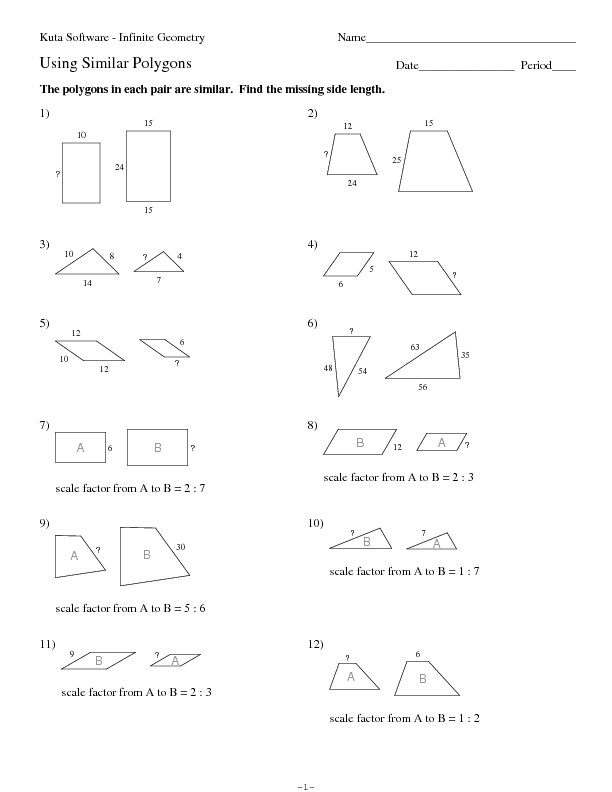 Similar Polygons Worksheet Answers Using Similar Polygons Worksheet for 10th Grade