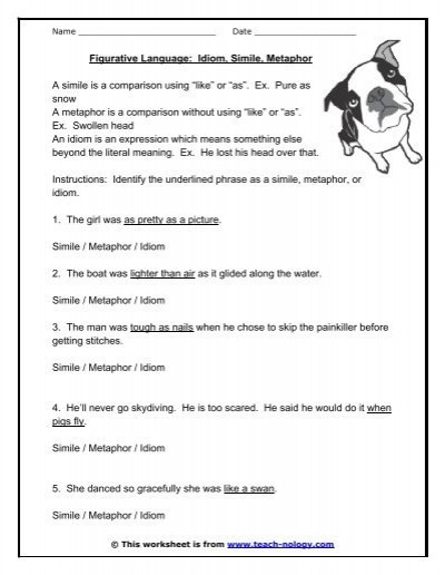 Simile and Metaphor Worksheet Figurative Language Idiom Simile Metaphor Teach Nology