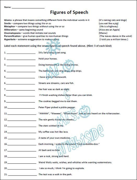 Simile and Metaphor Worksheet Figurative Language Practice Worksheet