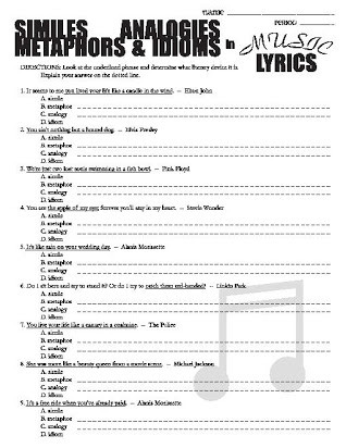 Simile and Metaphor Worksheet Free Metaphor and Simile Worksheets