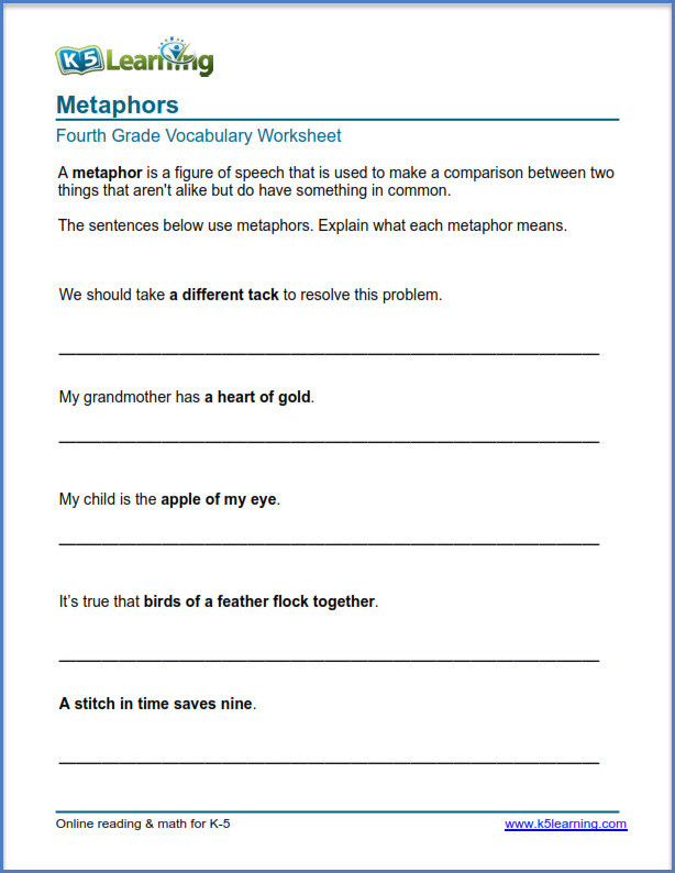 Simile and Metaphor Worksheet Grade 4 Vocabulary Worksheets – Printable and organized by