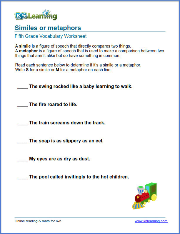 Simile and Metaphor Worksheet Grade 5 Vocabulary Worksheets – Printable and organized by