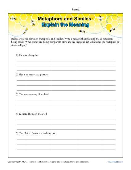 Simile and Metaphor Worksheet Metaphors and Similes Explain the Meaning