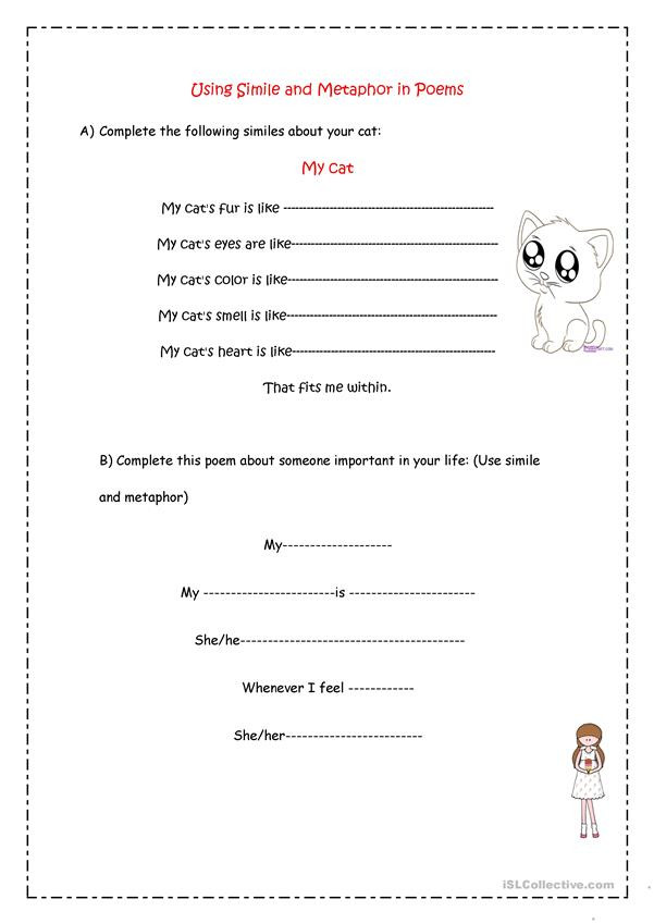 Simile and Metaphor Worksheet Simile & Metaphor Poems English Esl Worksheets for