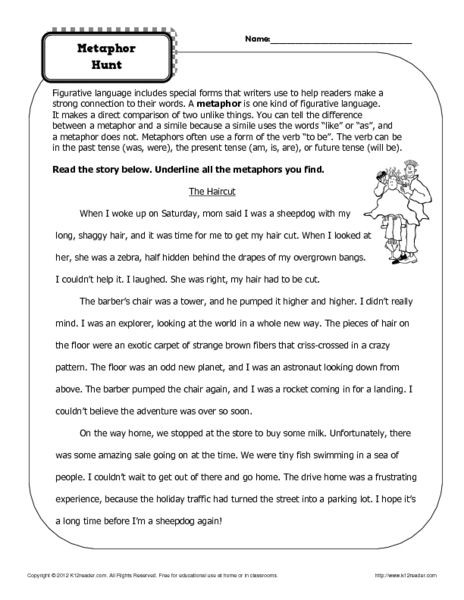 Simile and Metaphor Worksheet Simile and Metaphor Worksheet 1 Answer Key Intrepidpath