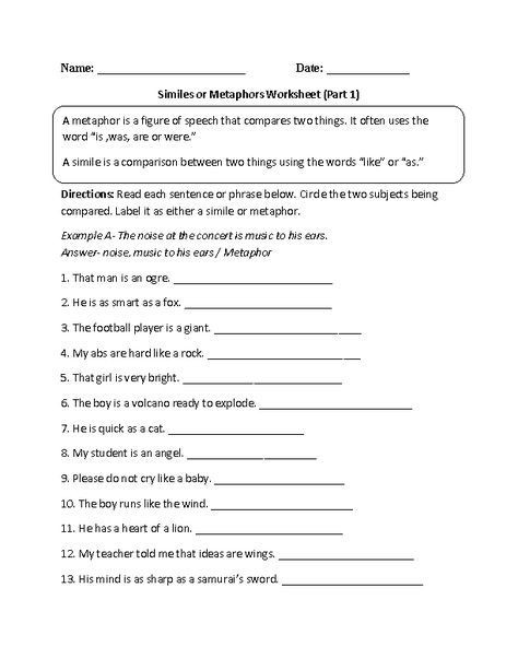 Simile and Metaphor Worksheet Similes and Metaphors Worksheets