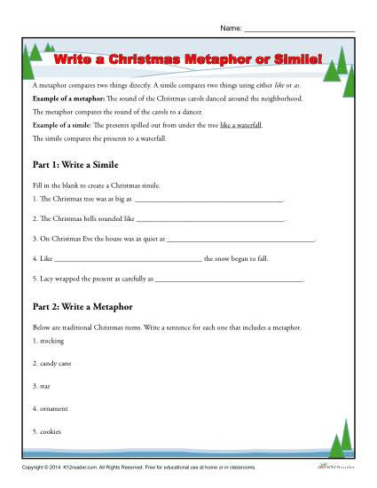 Simile and Metaphor Worksheet Write A Christmas Metaphor or Simile Worksheet