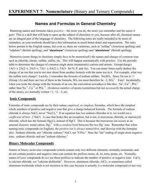 Simple Binary Ionic Compounds Worksheet Experiment 7 Nomenclature Binary and Ternary Pounds