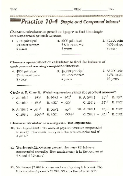Simple Interest Problems Worksheet Simple and Pound Interest Worksheet for 7th Grade