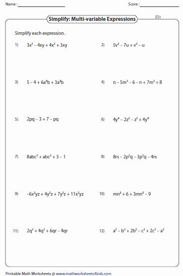 Simplifying Algebraic Expressions Worksheet Answers Pin On Customize Design Worksheet Line