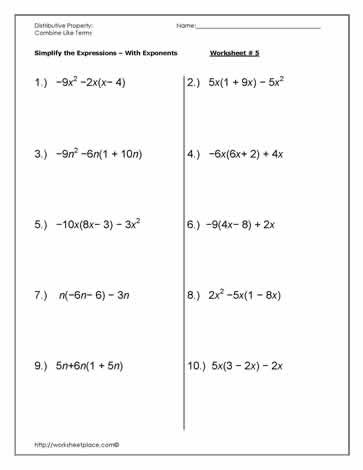 Simplifying Algebraic Expressions Worksheet Answers Simplify the Expressions Use Like Terms Worksheet Worksheets