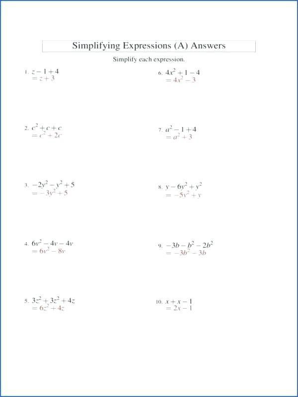 Simplifying Algebraic Expressions Worksheet Answers Simplifying Algebraic Expressions Worksheet Answers 2 In 2020