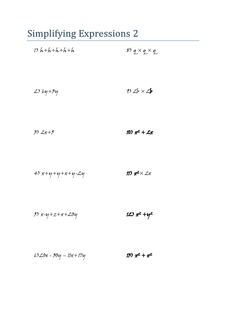 Simplifying Exponential Expressions Worksheet Mathematics Algebra Worksheet Simplifying Expressions