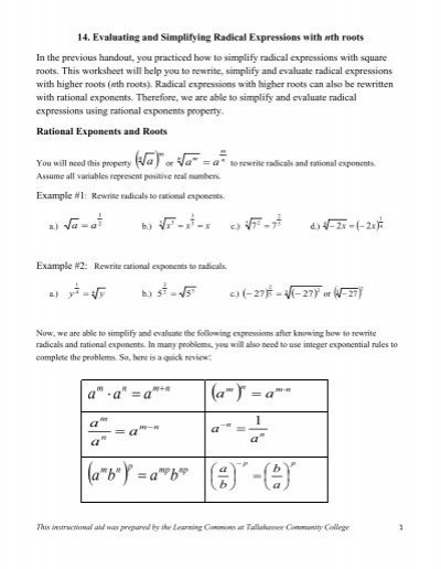 Simplifying Radicals with Variables Worksheet Evaluating & Simplifying Radical Expressions with N Th Root
