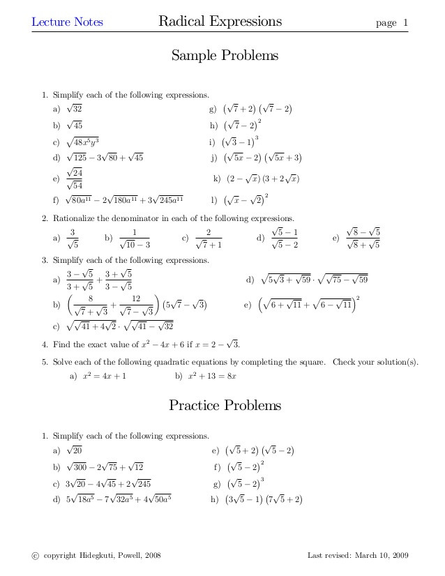 Simplifying Radicals with Variables Worksheet Radical Expressions