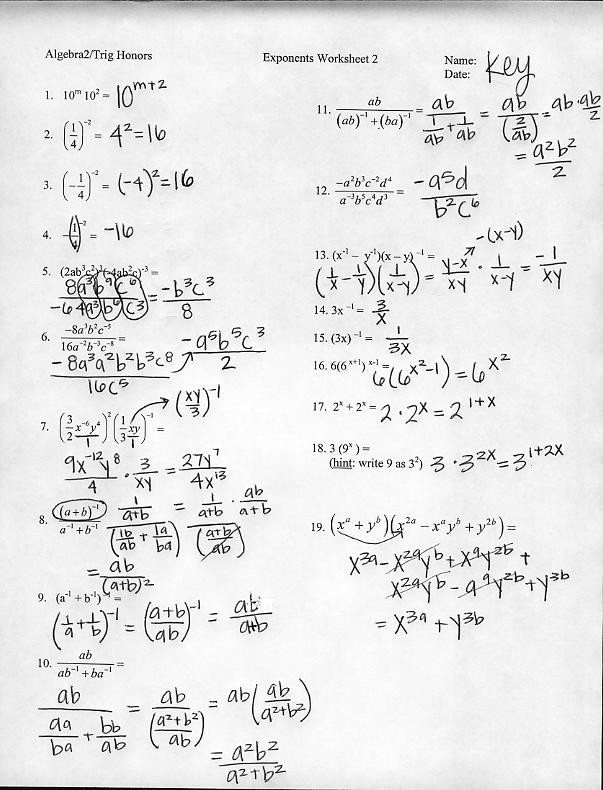 Simplifying Radicals Worksheet Answers Radical Expressions and Rational Exponents Worksheet