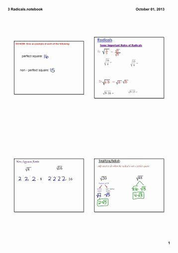 Simplifying Radicals Worksheet with Answers 50 Simplifying Radicals Worksheet Answer Key In 2020