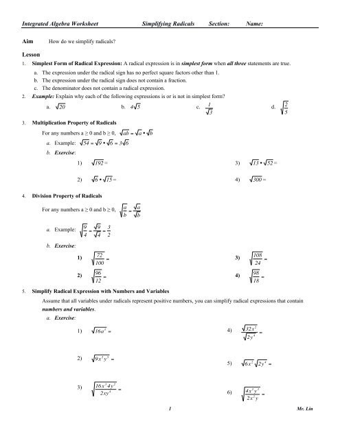 Simplifying Radicals Worksheet with Answers Algebra Worksheet 06 Simplify Radicals