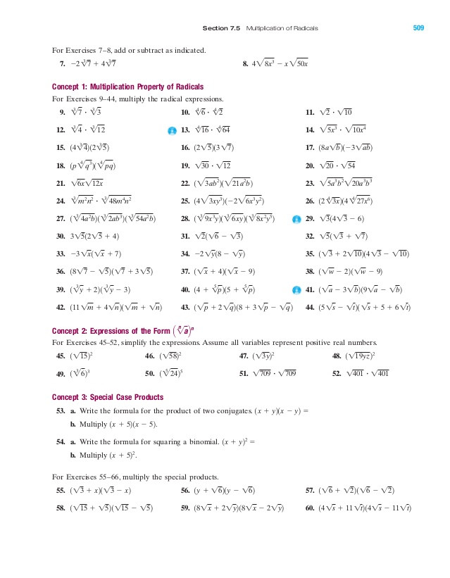 Simplifying Radicals Worksheet with Answers Radical and Plex Numbers