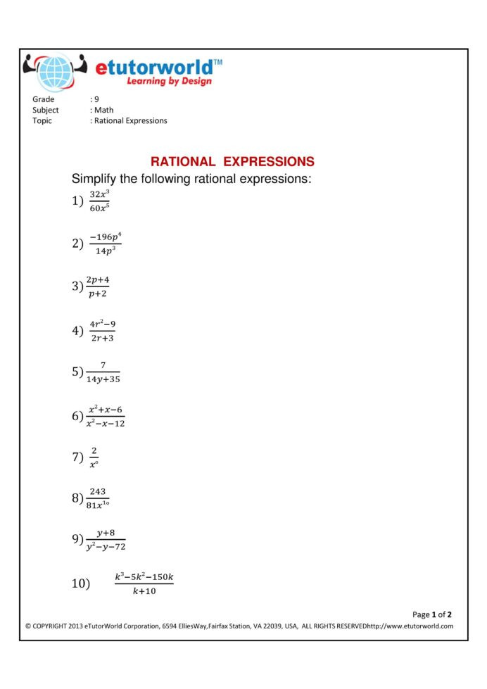 Simplifying Rational Expressions Worksheet Answers Math Practice Sheet for the topic Simplifying Rational Grade