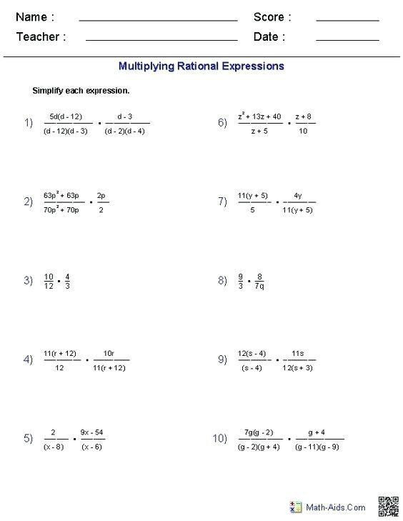 Simplifying Rational Expressions Worksheet Answers Pin On Printable Blank Worksheet Template