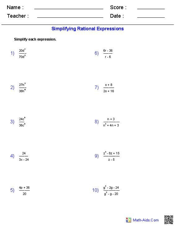 Simplifying Rational Expressions Worksheet Answers Simplifying Rational Expressions Worksheets