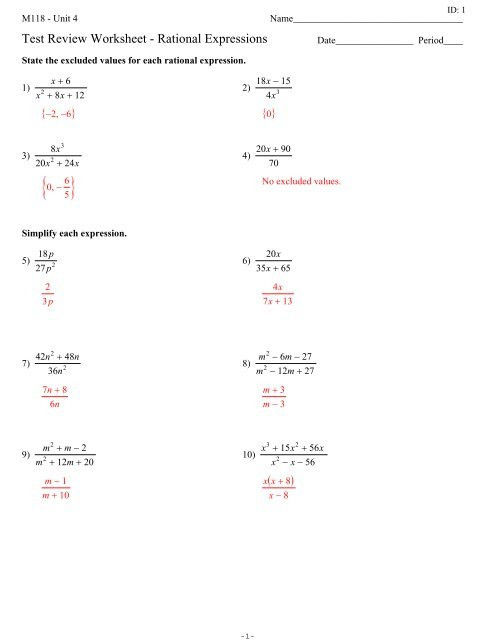 Simplifying Rational Expressions Worksheet Answers Test Review Worksheet Rational Expressions