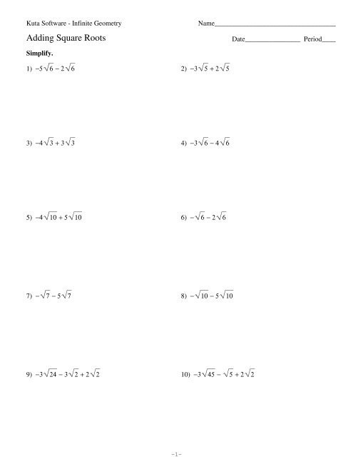 Simplifying Square Roots Worksheet Answers 1 Adding Square Roots Kuta software