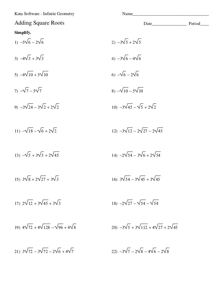 Simplifying Square Roots Worksheet Answers 1 Adding Square Roots