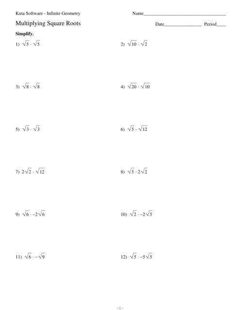 Simplifying Square Roots Worksheet Answers 1 Multiplying Square Roots Kuta software