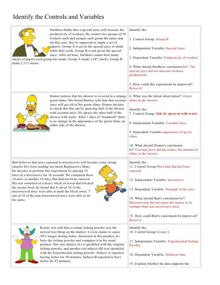 Simpsons Variables Worksheet Answers Bart Simpson Controls and Variables with Answers by Jrt004