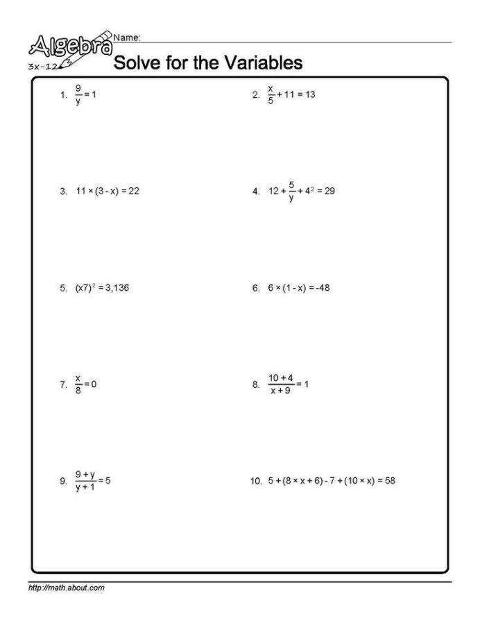 Solve and Graph Inequalities Worksheet Algebra Worksheets solving High School All Sign Math