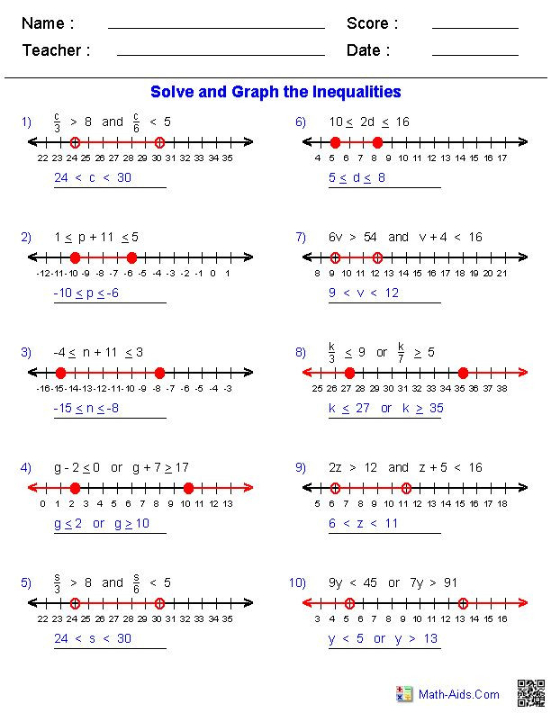Solve and Graph Inequalities Worksheet New solving and Graphing Inequalities Math is Fun