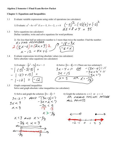 Solving Equations Review Worksheet Algebra 2 Semester 1 Final Exam Review Packet Chapter 1