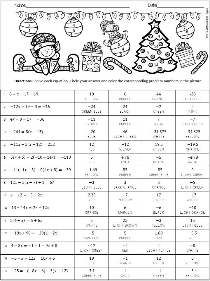 Solving Equations Review Worksheet Algebra Coloring Activity Christmas themed solving