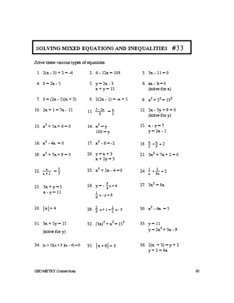 Solving Equations Review Worksheet solving Mixed Equations and Inequalities 33 Worksheet for