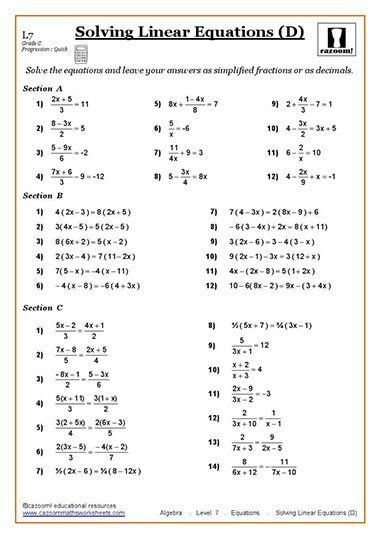 Solving Equations Worksheet Pdf Maths Worksheets In 2020
