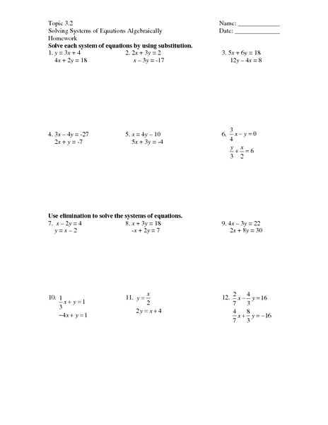Solving Systems Of Equations Worksheet 31 solving Systems Equations by Substitution Worksheet