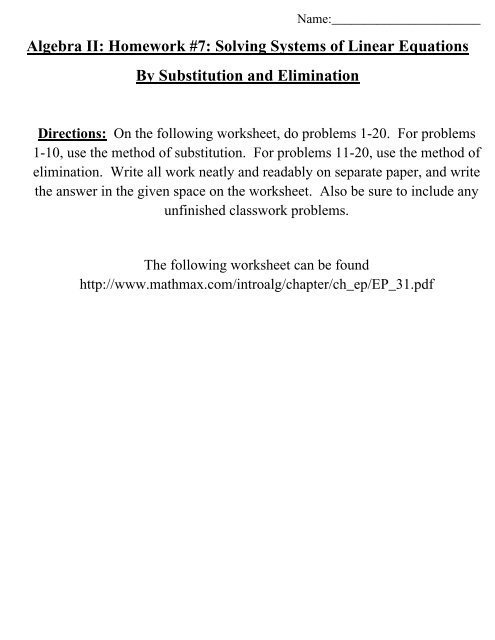 Solving Systems Of Equations Worksheet Algebra Ii Homework 7 solving Systems Of Linear Equations